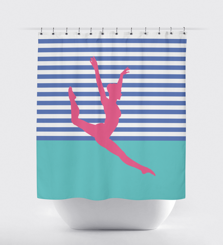 Dancer Silhouette Shower Curtain - Stripes and Color Block - Dance Themed Bathroom Decor For Girls and Teens - White, Periwinkle, Bubble Gum Pink, Pool