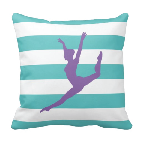 Custom Rugby Striped Dance Pillow for Teens and Girls - Dancer Themed Bedding and Room Decor for Kids - White, Pool, Amethyst