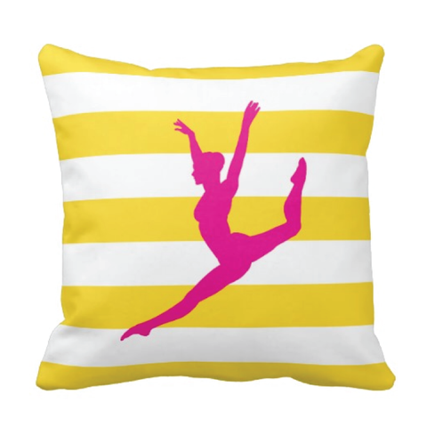 Custom Rugby Striped Dance Pillow for Teens and Girls - Dancer Themed Bedding and Room Decor for Kids - White, Yellow, Hot Pink