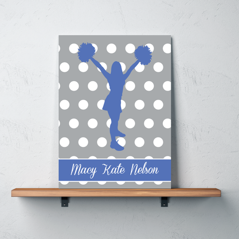 Polka Dot Cheer Canvas - Monogrammed Name - Periwinkle and Grey