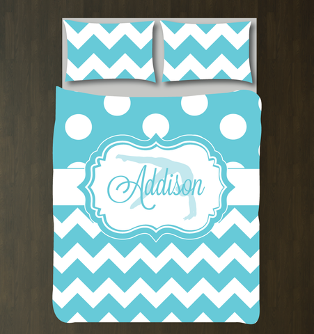 Custom Gymnastics Bedding for girls and teens - Chevron and polka dot duvet cover and sham - Personalized for female gymnast - White, Aqua