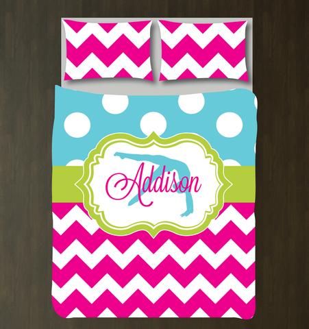 Custom Gymnastics Bedding for girls and teens - Chevron and polka dot duvet cover and sham - Personalized for female gymnast - White, Hot Pink, Aqua and Lime Green
