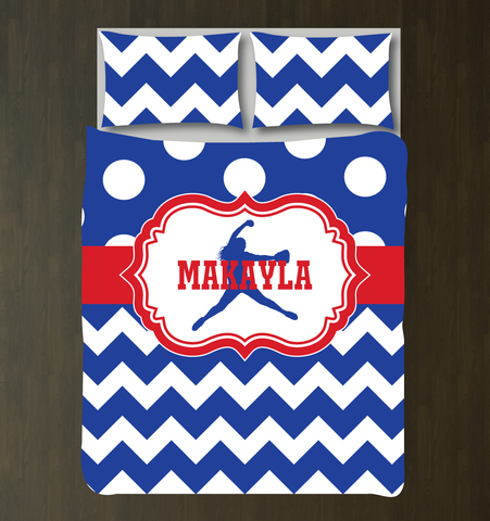 Custom Softball Bedding Set for Girls - Duvet Cover and Shams for Teens - Pitcher Silhouette - Chevron Stripes (Zig Zag) and Polka Dots - White, Red and Royal Blue