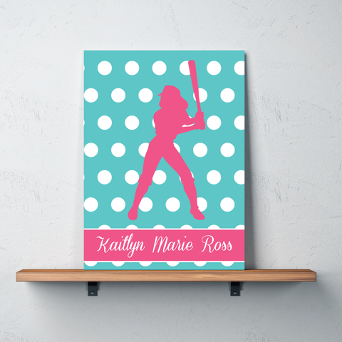 Polka Dot Softball Gallery Wrapped Canvas - Monogrammed Name - Sports gift for girl softball player and team - White, Pool, Bubble Gum Pink