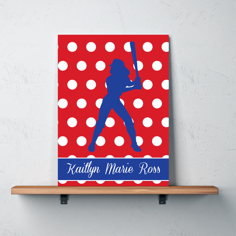 Polka Dot Softball Gallery Wrapped Canvas - Monogrammed Name - Sports gift for girl softball player and team - White, Royal Blue and Red