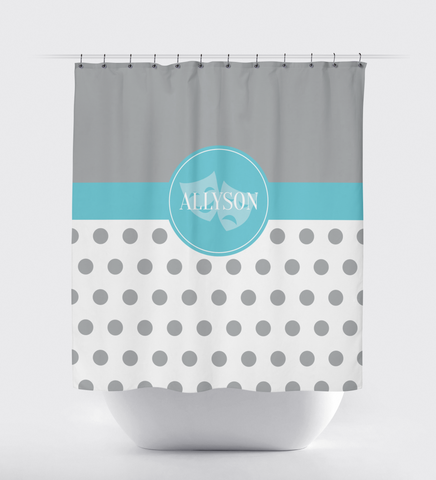 Theatre Mask Shower Curtain for Girls and Teens  - Drama - Acting - Actor - Music Theater - Comedy Tragedy - White, Grey, Aqua Blue