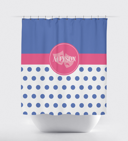 Theatre Mask Shower Curtain for Girls and Teens  - Drama - Acting - Actor - Music Theater - Comedy Tragedy - White, Periwinkle, Bubble Gum Pink