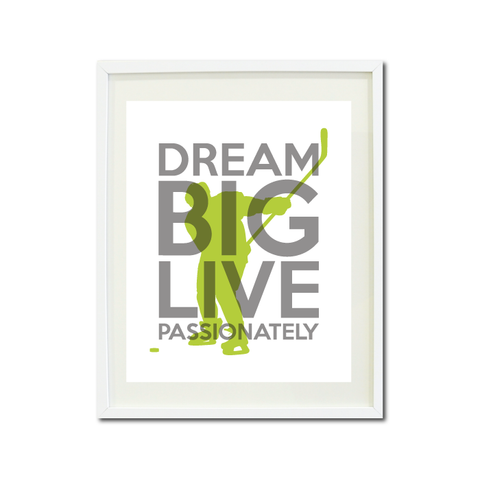Dream Big Live Passionately Art Print - Boys Ice Hockey Player Team Gift for Teens - Titanium Grey and Bright Chartreuse