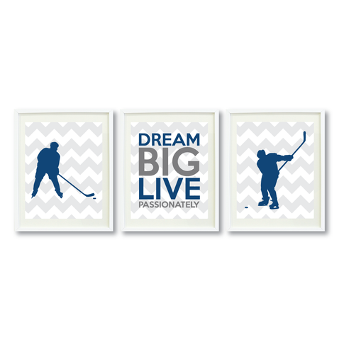 Dream Big Live Passionately Print Set - Ice Hockey Gift for Boys - Sports Team Player - Grey, White, Monaco Blue, Titanium