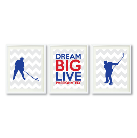 Dream Big Live Passionately Print Set - Ice Hockey Gift for Boys - Sports Team Player - Grey, White, Royal Blue, Red