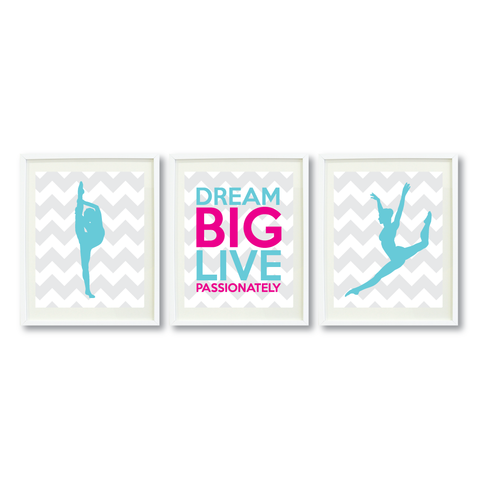 Dream Big Live Passionately Print Set - Dance Gift for Girls - Teen Room Wall Art - Kids Bedroom Decor - White, Grey, Hot Pink, Aqua Blue