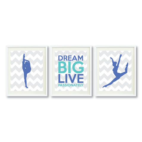 Dream Big Live Passionately Print Set - Dance Gift for Girls - Teen Room Wall Art - Kids Bedroom Decor - White, Grey, Periwinkle Blue, Pool