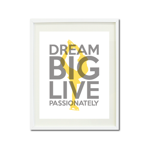 Dream Big Live Passionately - Figure Skating Wall Art Print for Girls and Teen - Ice Dancer - Dancing - White, Grey and Yellow
