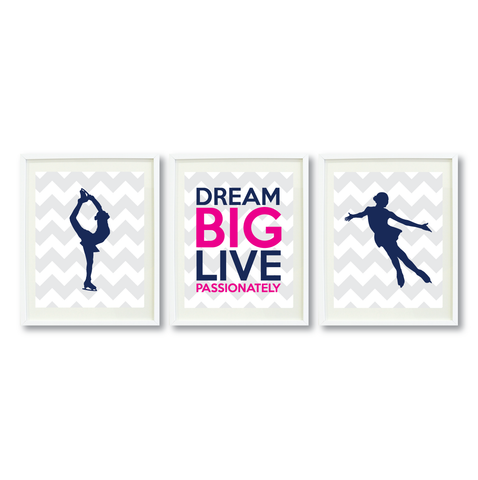 Dream Big Live Passionately Print Set - Figure Skating Gift for Girls - Teen Room Wall Art - Kids Bedroom Decor - White, Grey, Navy Blue, Hot Pink