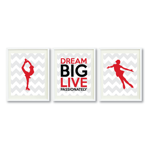 Dream Big Live Passionately Print Set - Figure Skating Gift for Girls - Teen Room Wall Art - Kids Bedroom Decor - White, Grey, Red, black