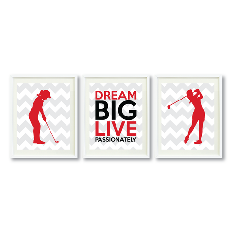 Dream Big Live Passionately Print Set - Golf Gift for Girls - Sports Team Player - Grey, White, Red, Black