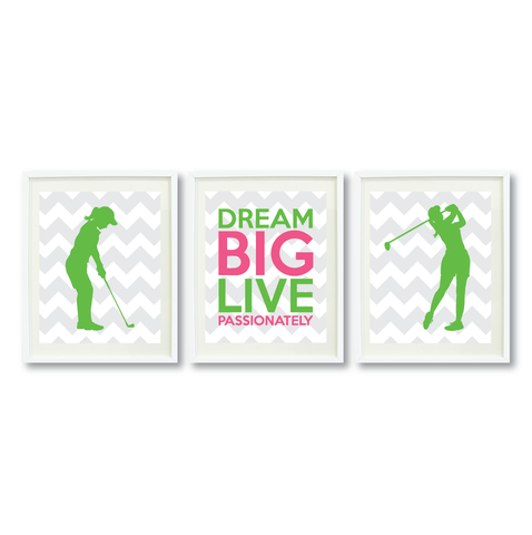 Dream Big Live Passionately Print Set - Golf Gift for Girls - Sports Team Player - Grey, White, Light Green, Bubble Gum Pink