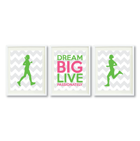 Dream Big Live Passionately Print Set - Running Gift for Girls - Sports Team Player - Female Marathon Runner - Grey, White, Light Green, Bubble Gum Pink