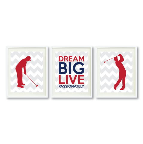 Dream Big Live Passionately Print Set - Golf Gift for Boys - Sports Team Player - Grey, White, Brick Red, Navy Blue