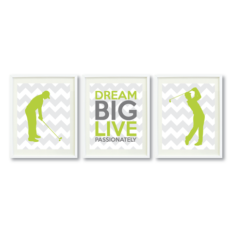 Dream Big Live Passionately Print Set - Golf Gift for Boys - Sports Team Player - Grey, White, Lime Green, Titanium