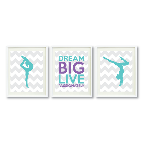 Dream Big Live Passionately Print Set - Gymnastics Gift for Girls - Sports Team Player  - Female Gymnast- Grey, White, Pool, Amethyst Purple