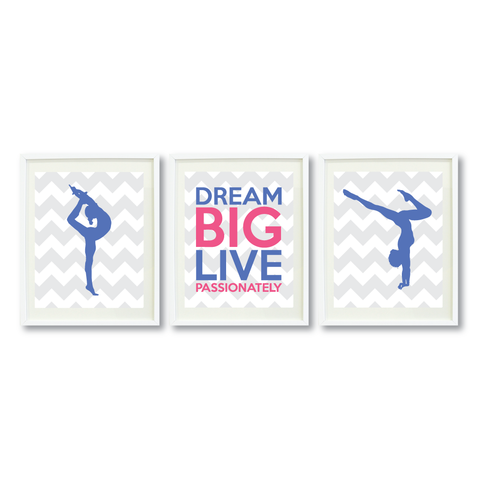 Dream Big Live Passionately Print Set - Gymnastics Gift for Girls - Sports Team Player  - Female Gymnast- Grey, White, Periwinkle Blue, Hot Pink