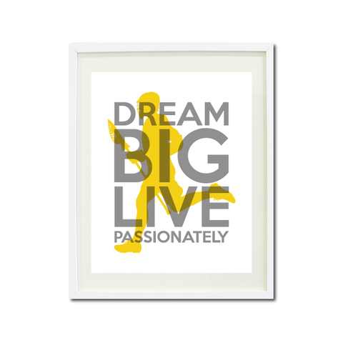 Lacrosse Dream Big Live Passionately Art Print For Boys Bedroom Decor - Wall Art - Sports Gift for Boys - High School Lax Team Gift -  White, Grey, Yellow