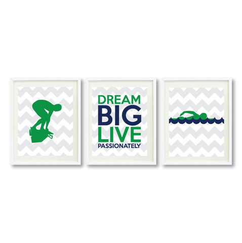 Dream Big Live Passionately Print Set - Swimmer Gift for Boys - Sports Swim Team Player  - Male Swimming - Grey, White, Green, Navy Blue