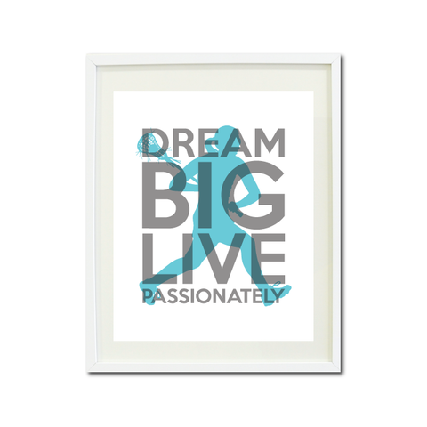 Lacrosse Dream Big Live Passionately Art Print For Girls Bedroom Decor - Wall Art - Sports Gift for Girls - High School Lax Team Gift -  White, Grey, Aqua