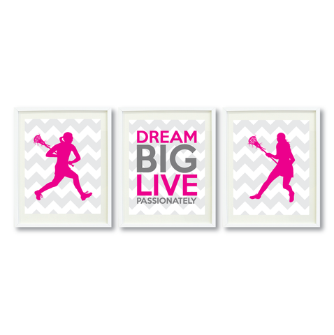 Lacrosse Dream Big Live Passionately Print Set For Girls Bedroom Decor - Wall Art - Sports Gift for Girls - High School Lax Team Gift -  White, Grey, Hot Pink