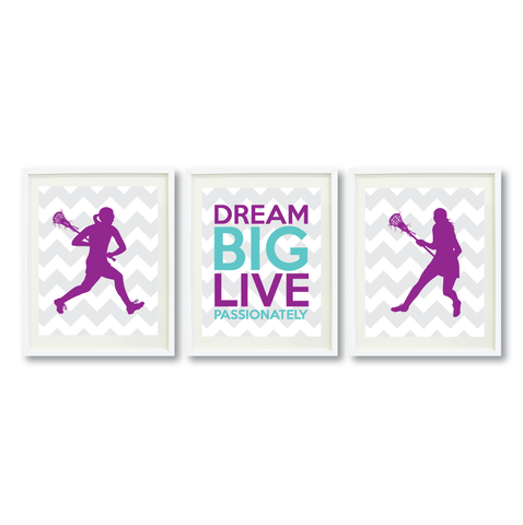 Lacrosse Dream Big Live Passionately Print Set For Girls Bedroom Decor - Wall Art - Sports Gift for Girls - High School Lax Team Gift -  White, Grey, Purple, Pool