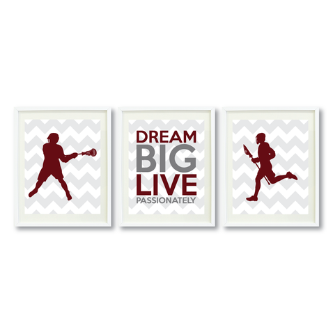 Lacrosse Dream Big Live Passionately Print Set For Boys Bedroom Decor - Wall Art - Sports Gift for Boys - High School Lax Team Gift -  White, Grey, Burgundy