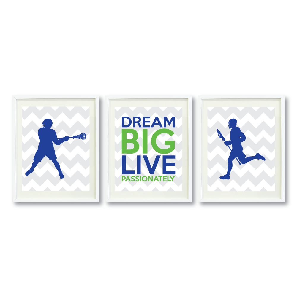 dream big live passionately boys lacrosse art print set – shop