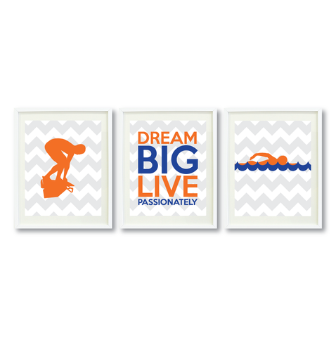 Dream Big Live Passionately Print Set - Swimmer Gift for Boys - Sports Swim Team Player  - Male Swimming - Grey, White, Carrot Orange, Royal Blue