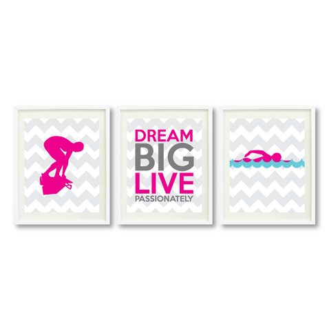 Dream Big Live Passionately Print Set - Swimmer Gift for Girls - Sports Swim Team Player  - Female Swimming - Grey, White, Hot Pink, Pool