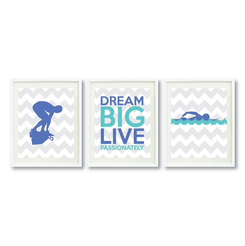 Dream Big Live Passionately Print Set - Swimmer Gift for Girls - Sports Swim Team Player  - Female Swimming - Grey, White, Periwinkle Blue, Pool