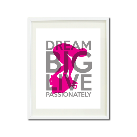 Dream Big Live Passionately Art Print - Swimmer - Swimming Teens - Swim Team Gift for Girls - Titanium Grey and Hot Pink