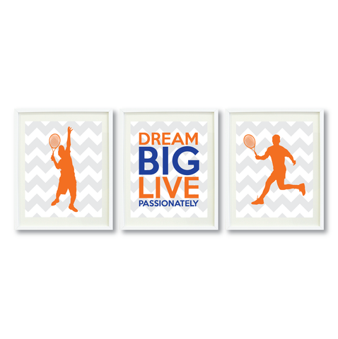 Dream Big Live Passionately Art Print Set - Tennis Player - Sports Gifts for Boys - Grey, White, Orange, Royal Blue