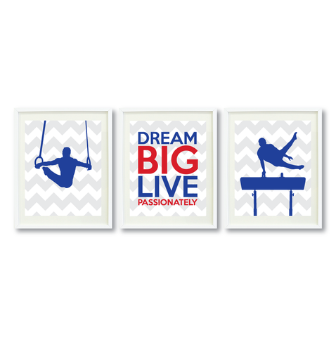 dream big live passionately series  boys gymnastics male gymnast pommel horse rings gift present motivational quote shop wunderkinds grey white royal blue red