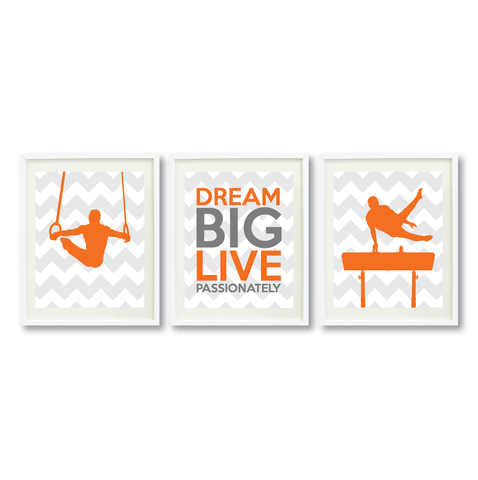 dream big live passionately series  boys gymnastics male gymnast pommel horse rings gift present motivational quote shop wunderkinds grey white orange