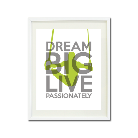 dream big live passionately wall art print series boys gymnastics male gymnast rings gymnastics gift christmas present home decor white titanium grey bright chartreuse lime green