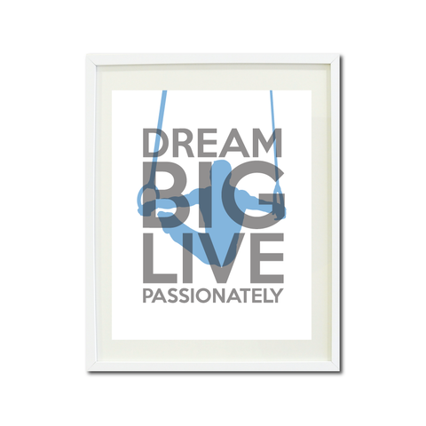 dream big live passionately wall art print series boys gymnastics male gymnast rings gymnastics gift christmas present home decor white titanium grey placid blue