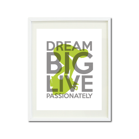 Dream Big Live Passionately Art Print - Swimmer - Swimming Teens - Swim Team Gift for Boys - Titanium Grey and Lime Green