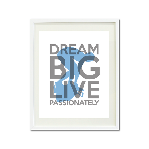 Dream Big Live Passionately Art Print - Swimmer - Swimming Teens - Swim Team Gift for Boys - Titanium Grey and Placid