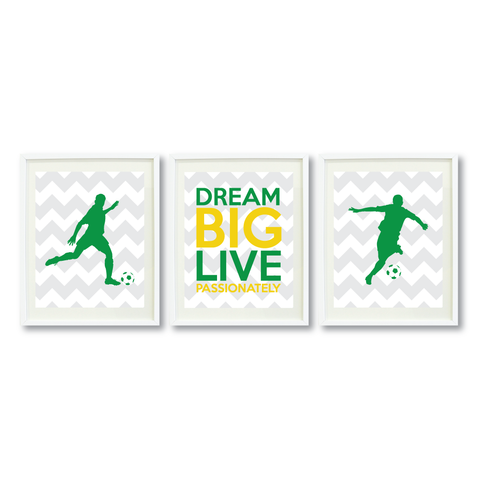 Dream Big Live Passionately Print Set - Soccer Gift for Boys - Sports Team Player - Grey, White, Yellow, Green