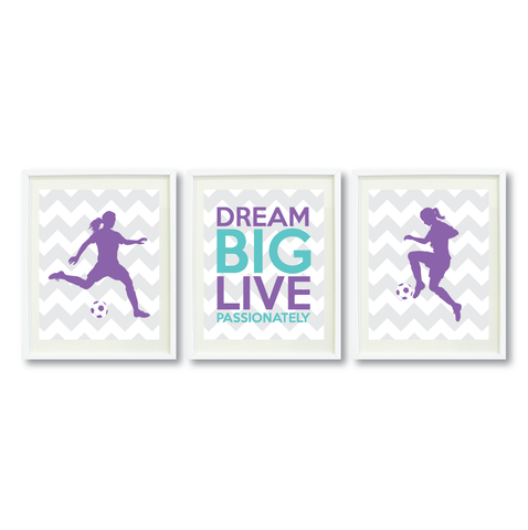 Dream Big Live Passionately Print Set - Soccer Gift for Girls - Sports Team Player - Grey, White, Amethyst Purple, Aqu