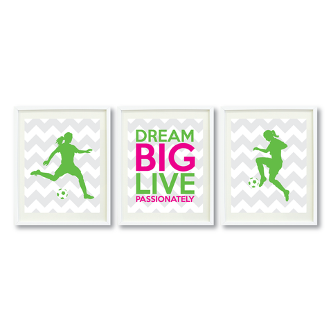 Dream Big Live Passionately Print Set - Soccer Gift for Girls - Sports Team Player - Grey, White, Light Green, Hot Pink