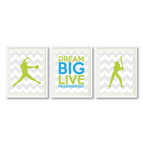 Dream Big Live Passionately Print Set - Softball Gift for Girls - Sports Team Player - Grey, White, Lime Green and Turquoise