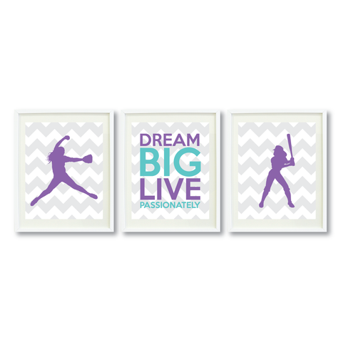 Dream Big Live Passionately Print Set - Softball Gift for Girls - Sports Team Player - Grey, White, Amethyst, Pool