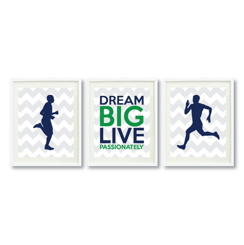 Dream Big Live Passionately Print Set - Running Gift for Boys - Men - Male - Sports Team Player - Guys Marathon Runner - Grey, White, Navy Blue, Green